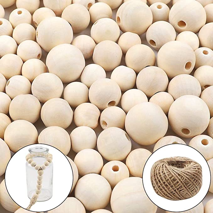 Natural Round Wood Beads Bulk Set with 1 Roll Crystal Elastic Line for DIY Jewelry Making Wooden Beads Garland 6 Sizes 8mm, 10mm, 12mm,14mm, 16mm,20mm ASKMUSE 630pcs Wooden Beads for crafts
