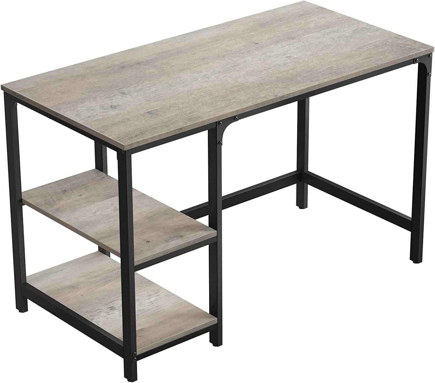 VASAGLE ALINRU Computer Desk, 47-Inch Office Study Desk for Laptops, with 2 Shelves on Left or Right, Stable Steel Frame, Industrial, Greige and Black ULWD47MB