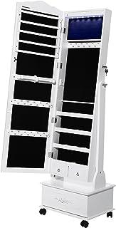 SONGMICS LED Portagioie Armadio per Gioielli con Specchio con Base a Cassettiera a Rotelle Girevoli cassetto scorrevole di grandi JBC61W