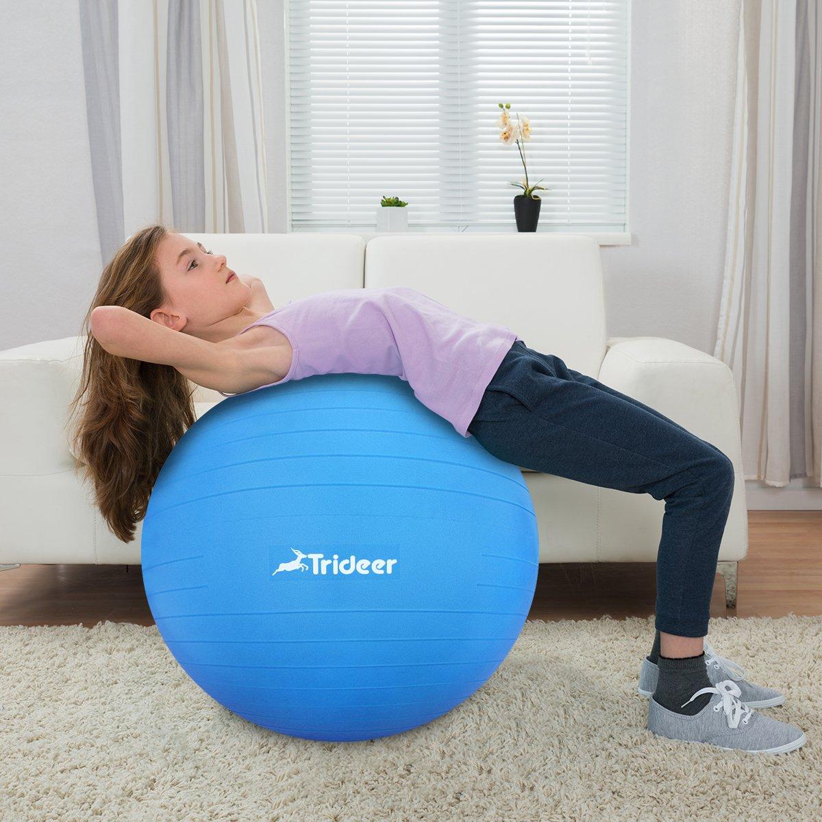 Trideer 45-85cm Exercise Ball, Birthing Ball, Ball Chair, Yoga Pilate Fitness Balance Ball with Pump Plug Kit, Anti-Slip & Anti-Burst (Dark Blue, 65cm) by Trideer (Image #8)