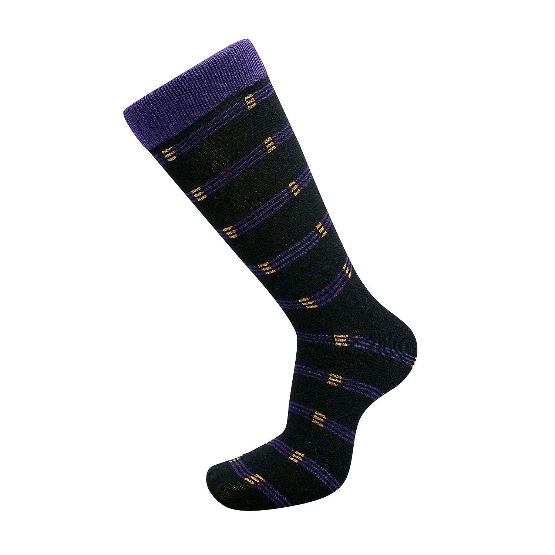 USBingoshop Mens Cotton Argyle Striped Solid Ribbed Black Crew Dress Socks Pack