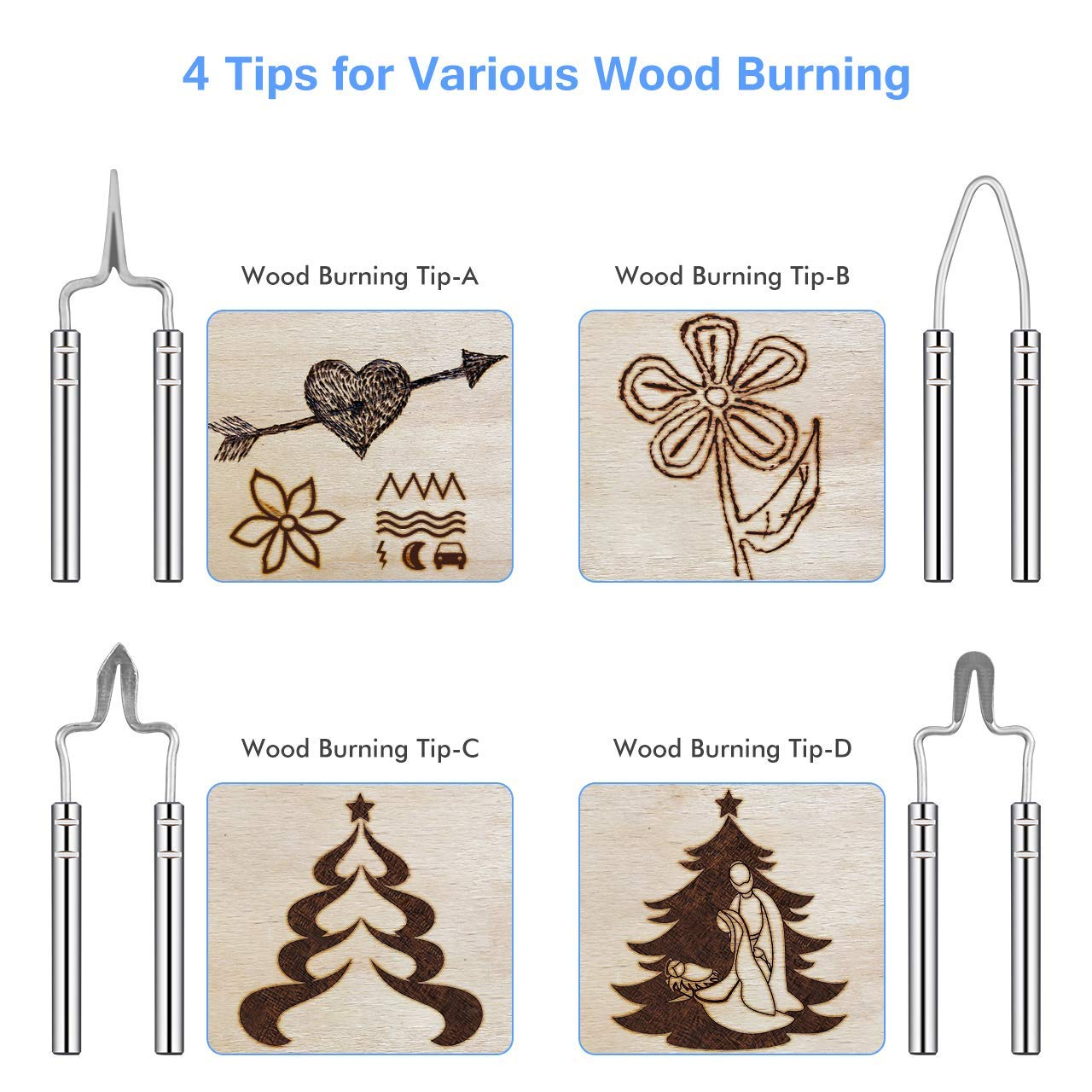 TOPELEK Wood Burning Machine Kit, Professional Woodburning Tool with Fast Heat up Woodburner Pen, Adjustable Temperature, Wire Tips, Stand, Replacement Screws for Wood/Leather/Gourd, Blue by TOPELEK (Image #5)