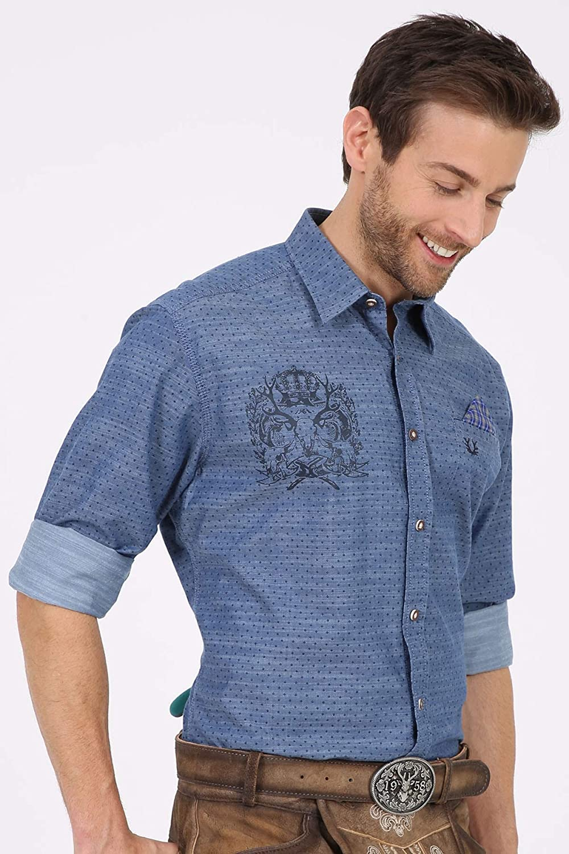 Kr/üger Herren Trachten Hemden lang blau Art.-Nr Langarm Marine blau Modell: Leo 097139-0-0080