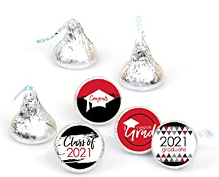 product image for Big Dot of Happiness Red Grad - Best is Yet to Come - Red 2021 Graduation Party Round Candy Sticker Favors - Labels Fit Hershey's Kisses (1 Sheet of 108)