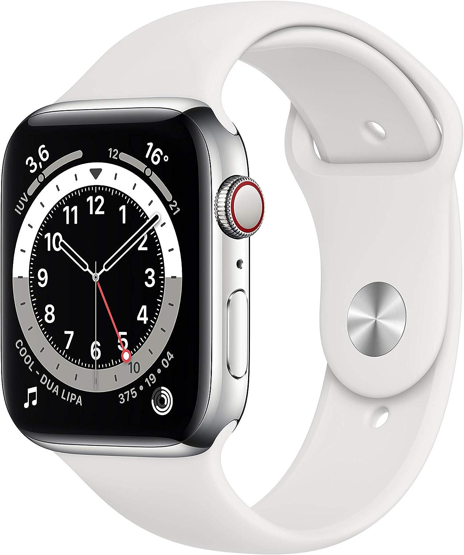 AppleWatch Series6 (GPS+Cellular, 44 mm) Caja de acero inoxidable en plata - Correa deportiva blanca