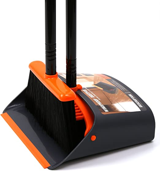 "TreeLen Dust Pan and Broom/Dustpan Cleans Broom Combo with 52"" Long Handle for Home Kitchen Room Office Lobby Floor Use Upright Stand Up Broom and Dustpan S best broomset"