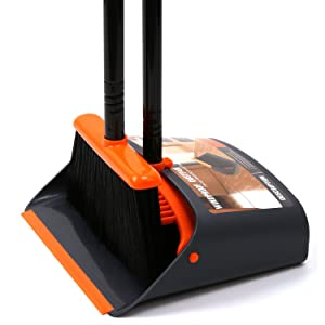"Dust Pan and Broom/Dustpan Cleans Broom Combo with 54"" Long Handle for Home Kitchen Room Office Lobby Floor Use Upright Stand Up Broom and Dustpan Set"