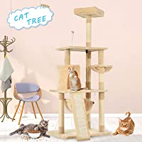 Advwin 157 cm Multi-Level Cat Tree Stand House Furniture Kittens Activity Tower with Scratching Posts and Ladder, Kitty Pet Play and Sleeping House(Beige)