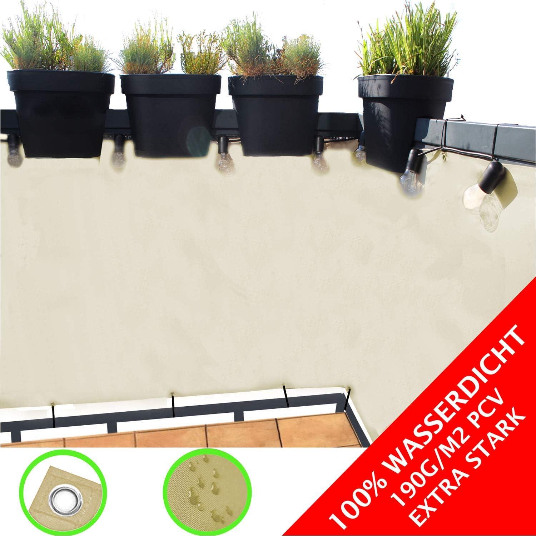 Balkon Sichtschutz / blickdichte Balkonumspannung 90x300 cm - mit Ösen und Kordel - in div. Größen & Farben