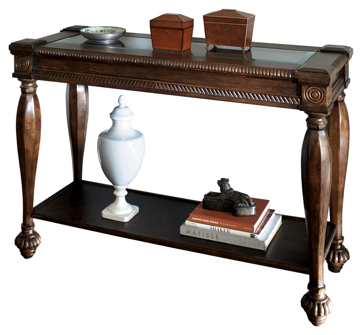 Amazon com ashley furniture signature design mantera sofa table entertainment console table rustic style rectangular dark brown with beveled