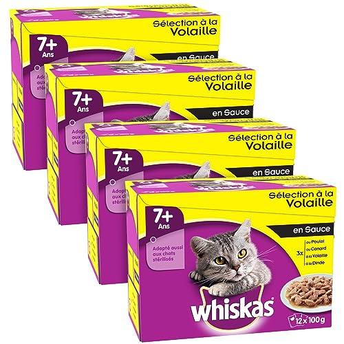 WHISKAS - Sélection à la Volaille en Sauce 7+ - Sachets Fraîcheur pour chats  12 x 100g - Lot de 4