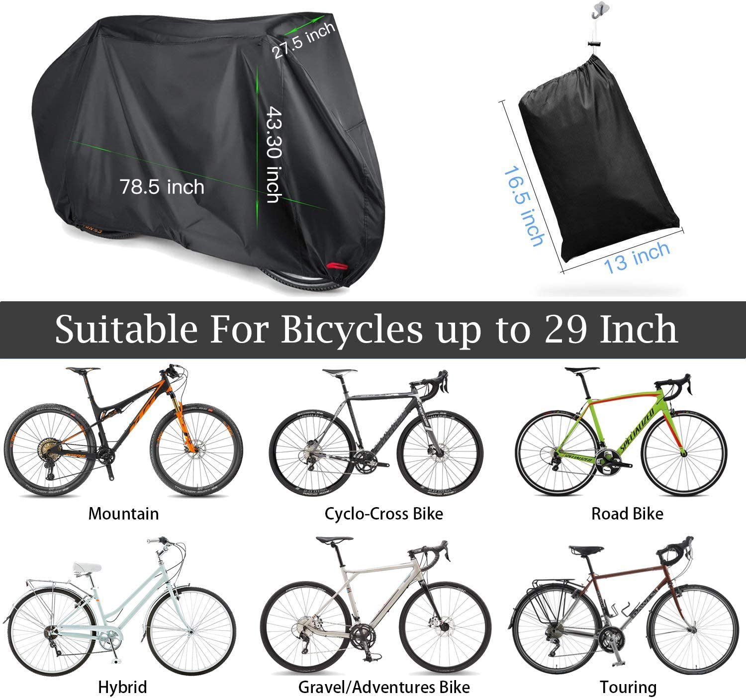 Silver Heavy Duty Water Resistant 190D Oxford Fabric Cover Mountain Road Bikes