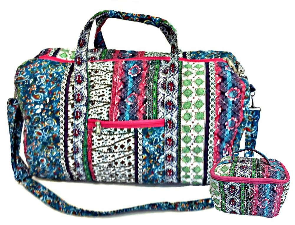 22'' Quilted Duffel Cotton Carry On Bag with 7'' Cosmetic Bag by beYOUnique (Image #1)