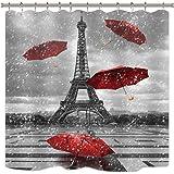 Riyidecor Vintage France Eiffel Tower Shower Curtain Paris Raining European City Modern Red Umbrella Landscape Black…