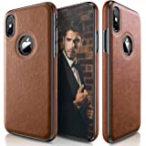 LOHASIC iPhone X Case, iPhone XS Case (2018) New Version Slim Thin Premium Leather Luxury PU Soft Flexible Hybrid Bumper Anti-Slip Grip Scratch Resistant Protective Cover for Apple iPhone X XS - Brown