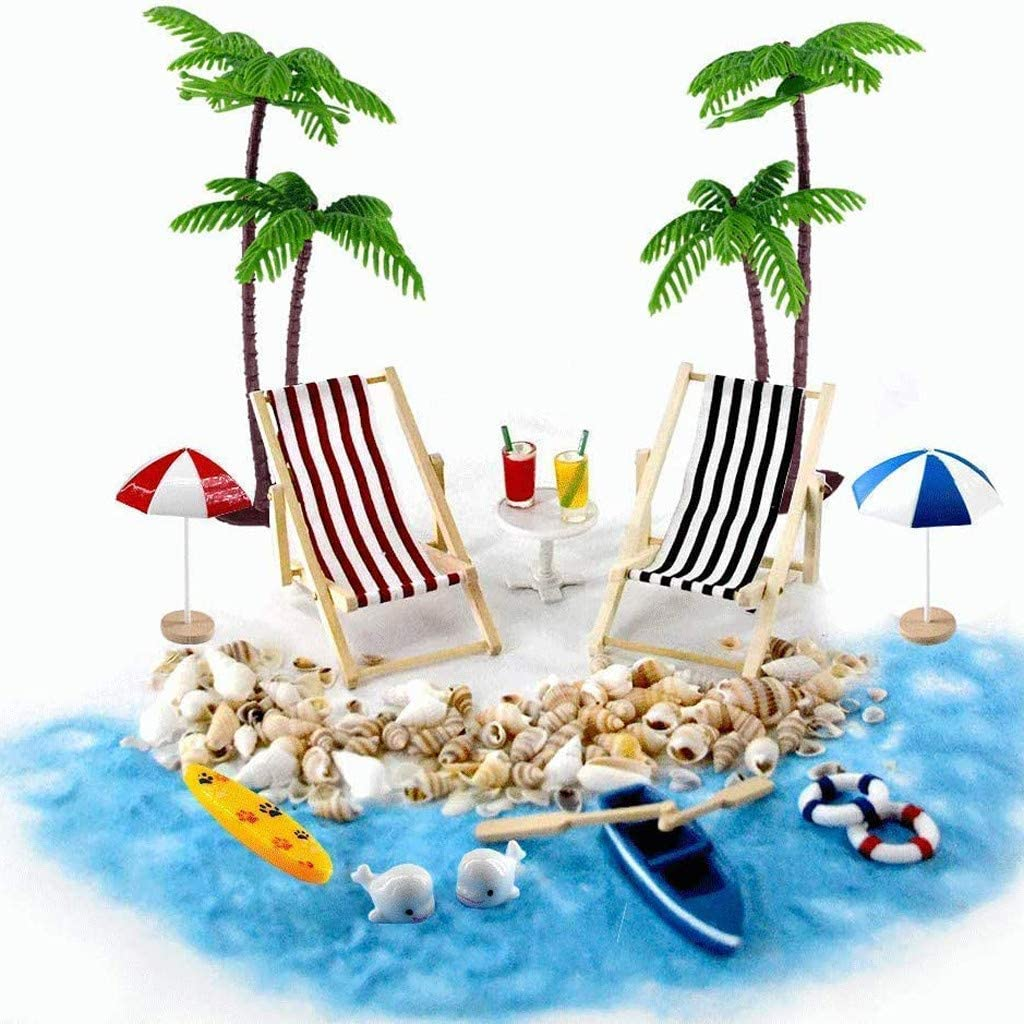Aliturtle 18 Pieces/Pack 1:6 1:12 Scale DIY Dollhouse Decor Furniture Accessories Kit Hawaiian & Mediterranean Summer Seaside Beach Free Time - Lounger Palm Coconut Parasol Life Buoy Boats Seashell