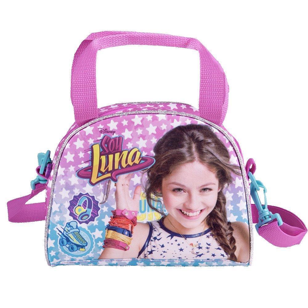 Bolso Bandolera de Ni/ña con Estampado Disney Soy Luna Practica Bolsa Cruzada de Viaje y para el Ocio Perletti 17x22x11 cm Bolso de Hombro con Cierre Frontal de Color Rosa y Azul