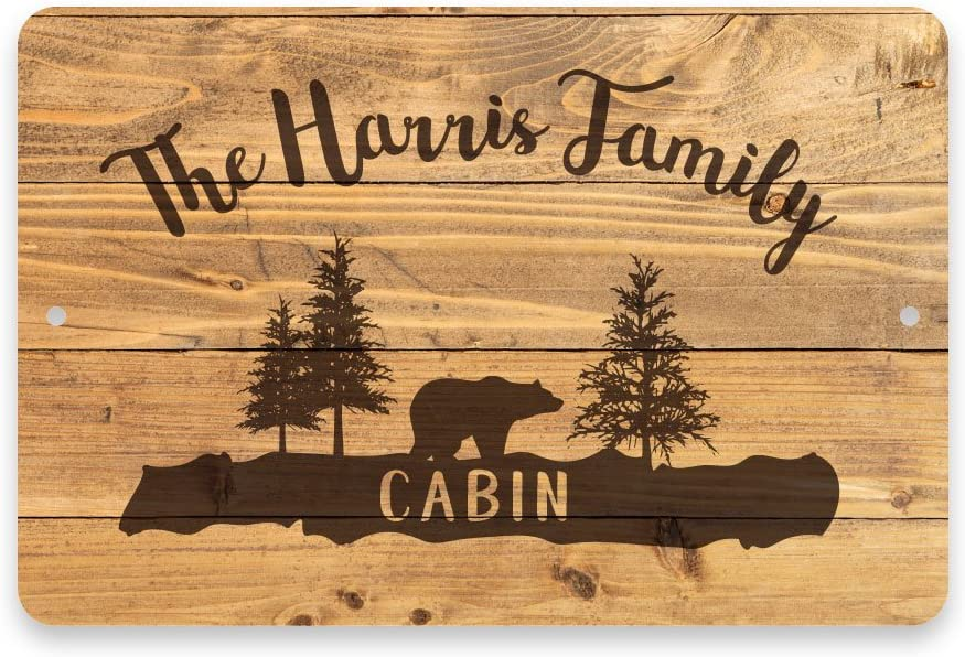Pattern Pop Personalized Rustic Wood Plank Cabin Metal Room Sign