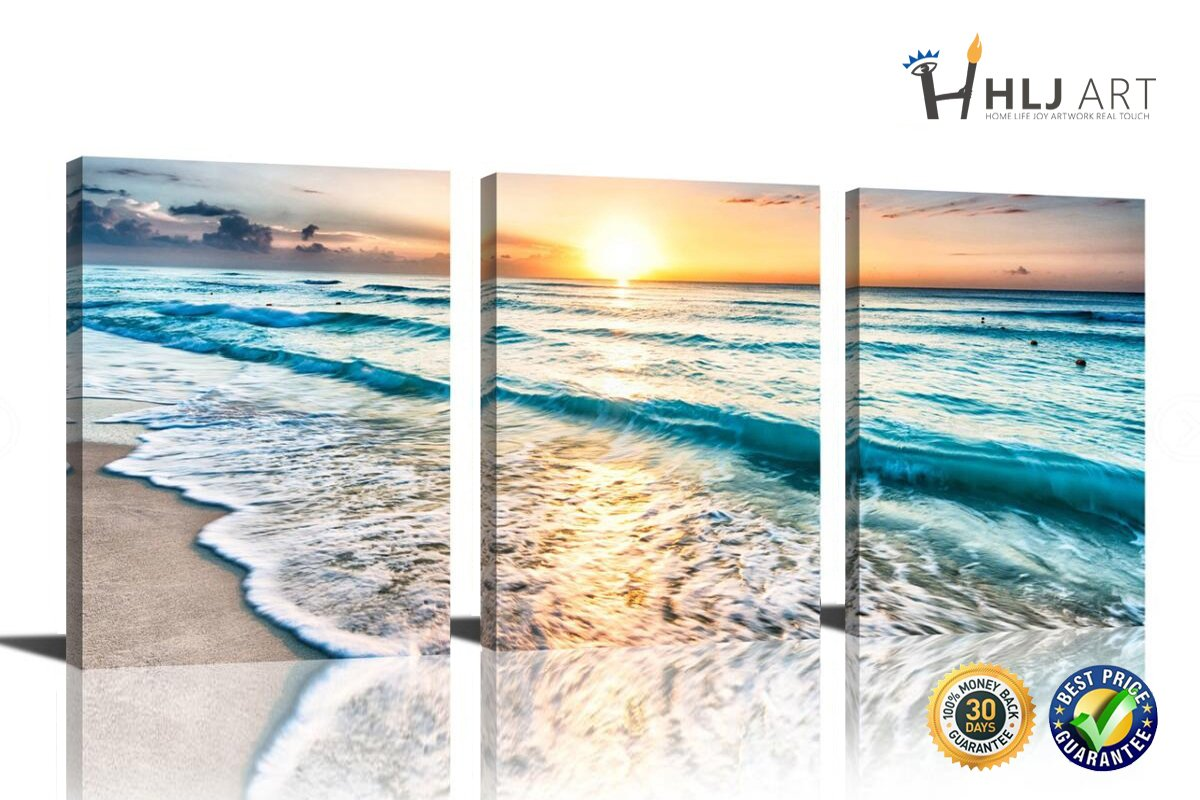 HLJ Arts Sunrise Theme 3 Panels Canvas Wall Decor Blue Skyline Sea Sunset White Beach Painting The Picture Prints Seascape For Home Decoration,Ready to Hang (Bright Blue)