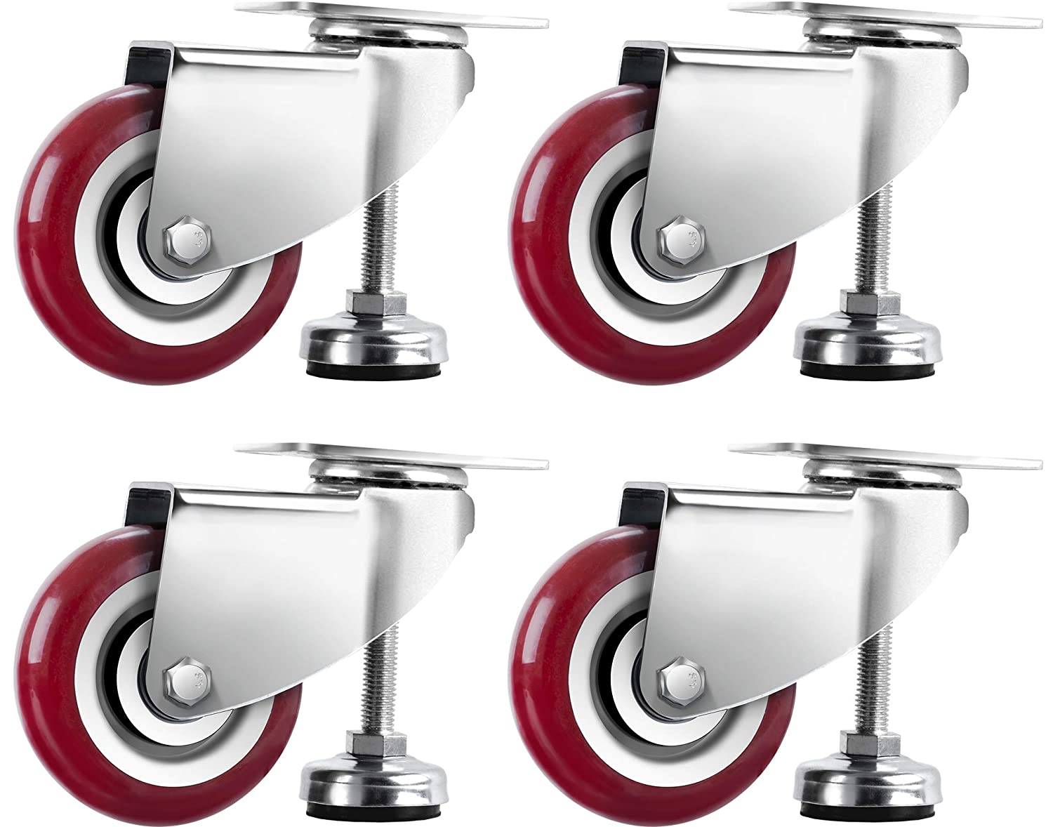 SPACECARE 4 Inches Swivel Caster Wheels, Heavy Duty Casters Set of 4 with Leg Levelers, 1360Lbs with 360 Degree No Noise Furniture Wheels
