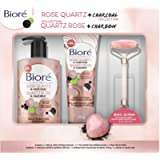 Bioré Rose Quartz + Charcoal Collection Gift Set for Oily Skin, 40 Value (Contains: Cleanser, Scrub and Bonus Rose…