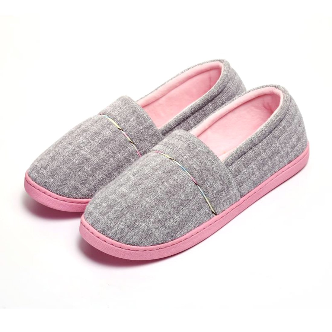 Cellicigal Women Cotton Knit Anti-Slip Comfort Indoor Slippers Slip-On Bedroom Home Shoes (6-6.5, Grey)