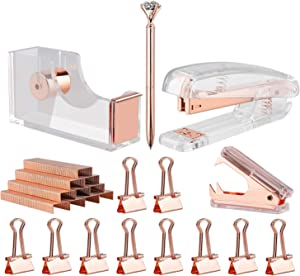KIDMEN Rosegold Desk Accessory Kit,Set of Stapler, Staple Remover,1000pcs Staples,Tape Dispenser,Big Diamond Ballpoint Pen and 10pcs Binder Clips