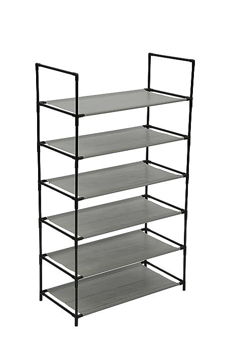 Bon Homebi 6 Tier Shoe Rack Shoe Tower Storage Organizer Unit Entryway Metal  Shoes Shelf Cabinet