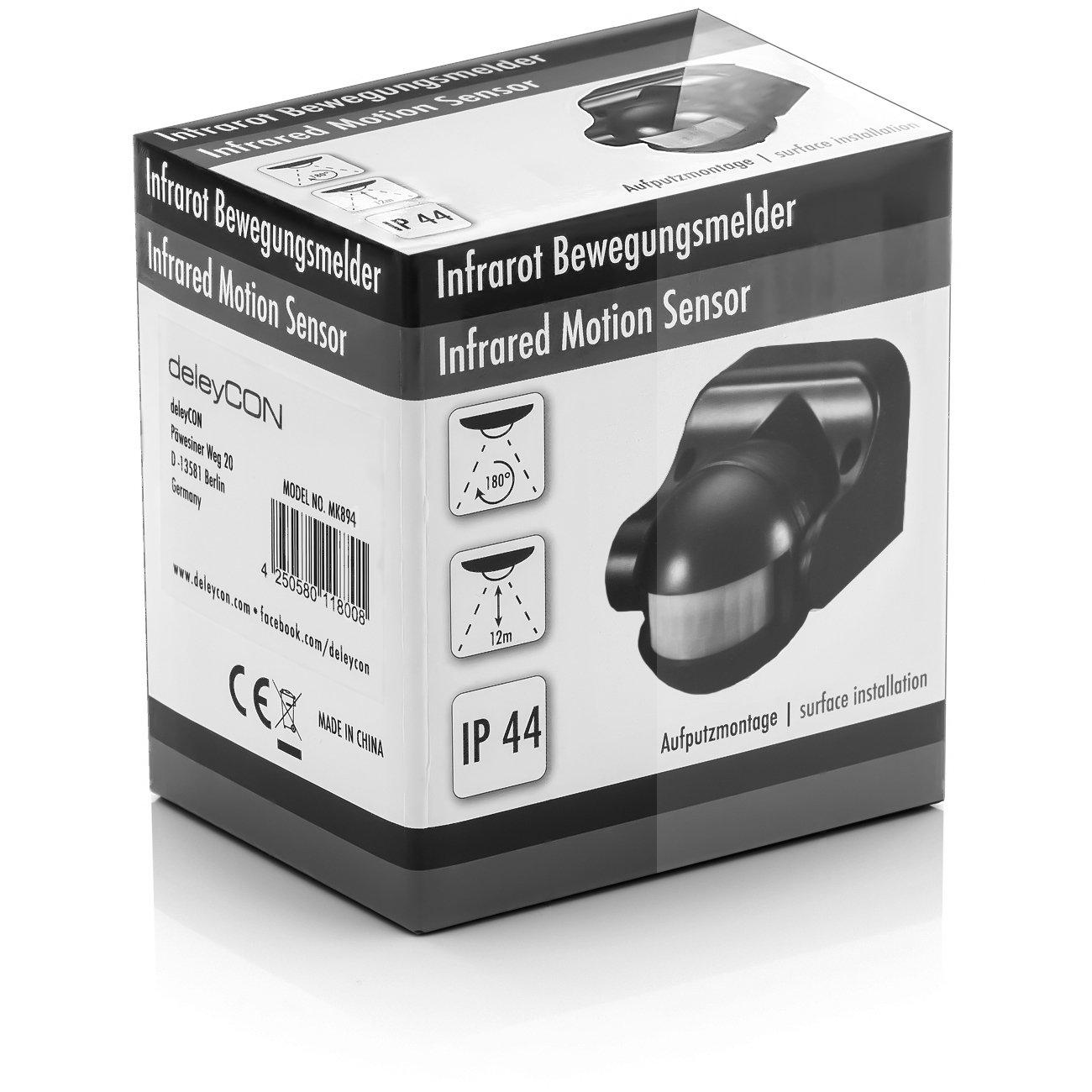 deleyCON 4X Infrarrojos Detector de Movimiento Montaje en Pared Interior Exterior a Prueba de Salpicaduras Inclinaci/ón 180/° /Área de Trabajo Alcance de 12m Blanco