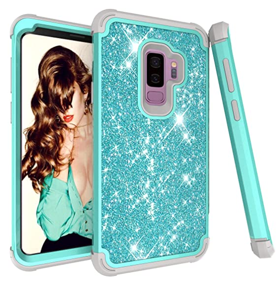 premium selection b6449 3ccfd UARMOR Bling Case Samsung Galaxy S9 Plus,Glitter Shiny Sparkle Heavy Duty  Shockproof Case Three Layer Hybrid Hard Shell Rubber Bumper Front  Protective ...