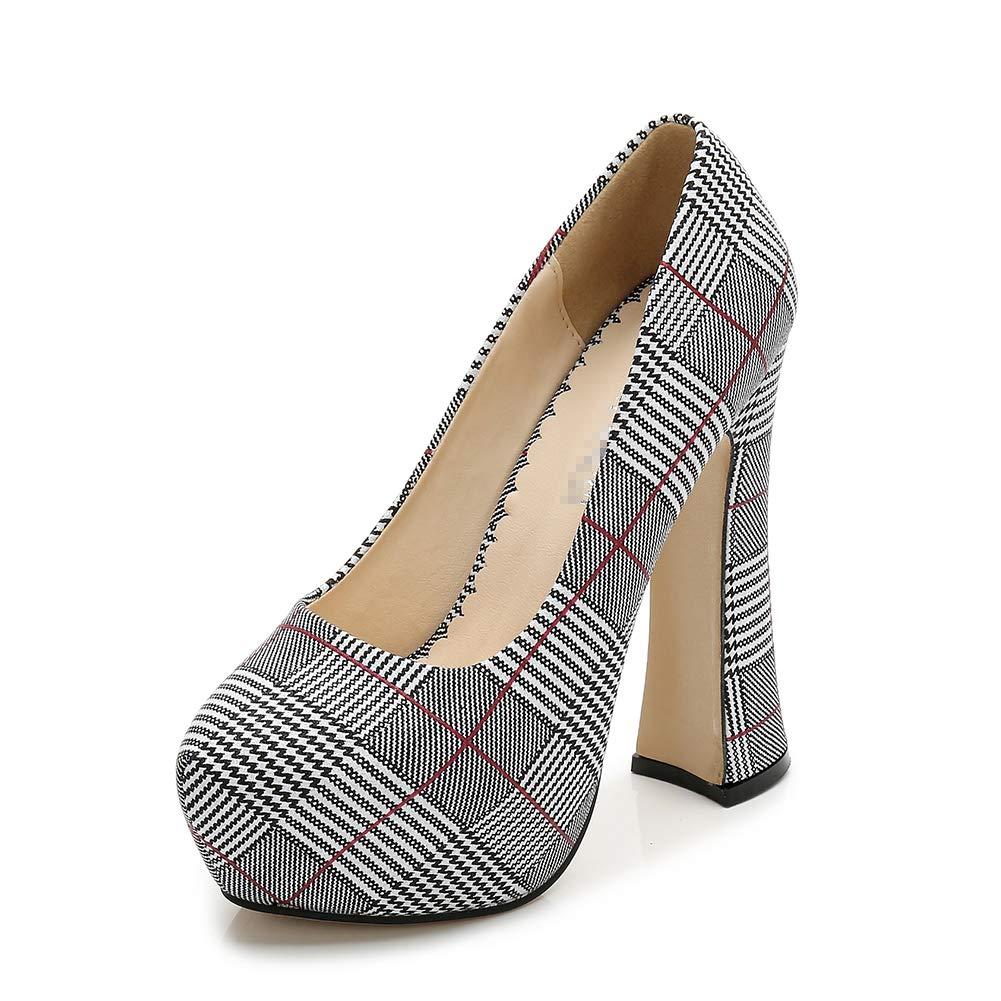 C FLYRCX La Mode Plaid Bouche Peu Profonde Ronde Chaussures Simples élégantes et Confortables épais avec des Talons Hauts de tempérament 37 EU