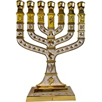 Holy Land Market Jewish Candle Sticks Menorah - 7 Branches - 12 Tribes of Israel Menorah (Gold, 10.8 Inches)