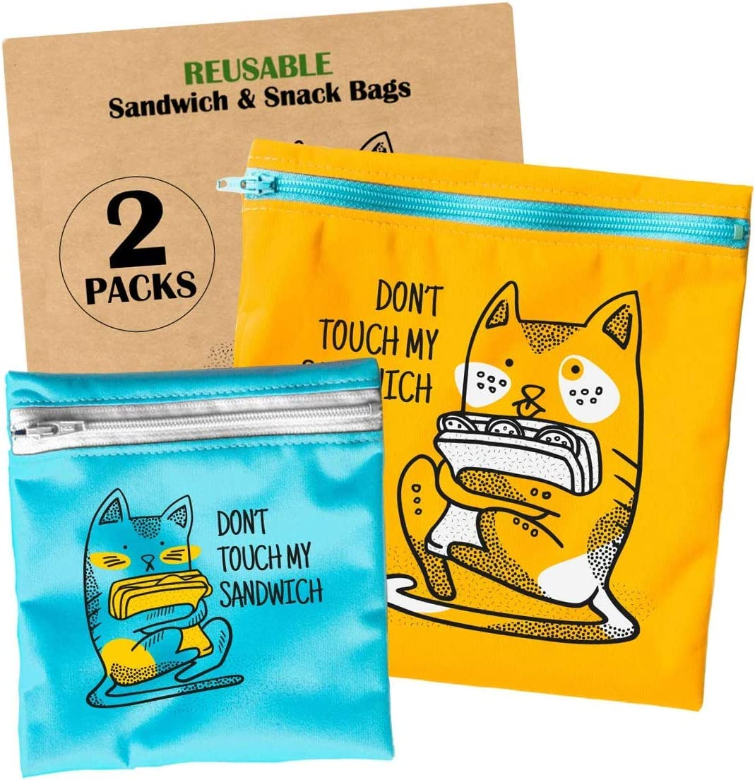Reusable Sandwich Bags for Kids - Reusable Snack Bags Dishwasher Safe - Lunch Bags with Zipper - Eco Friendly BPA-Free - Washable Sandwich Bag - 2 pcs