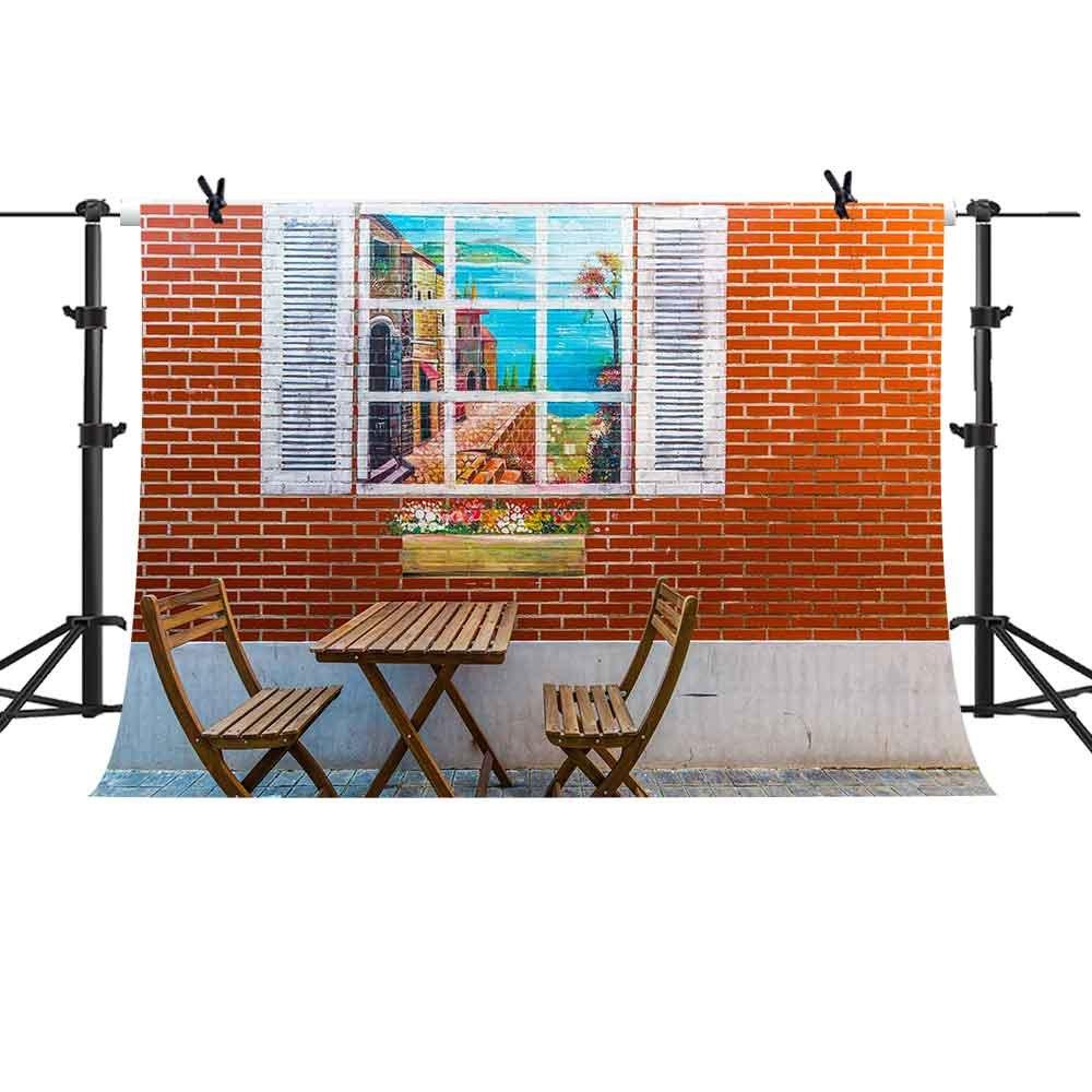 mtmety Backdrop 10 x 7ftレッドレンガ壁冷却椅子背景Youtube写真用背景シームレスなビニールフォトスタジオ小道具xcme306   B07FR47TQZ