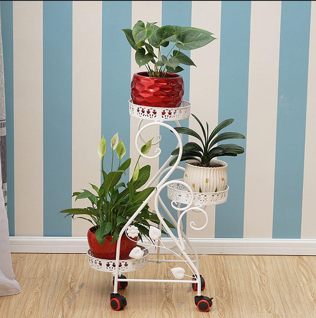 Huajia Scaffale per Display a pianta da Balcone, ripiano per Fiori in Stile a Pavimento, cremagliera in Ferro, ripiano a Balcone Multifunzionale con puleggia (colore   A)