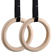 Femor Gym Rings, Wood Gymnastic Rings 1100lbs with 15ft Adjustable Straps, Heavy Duty Gym Equipment for Cross-Training Workout, Strength Training, Gymnastics, Fitness, Pull Ups and Dips (Set of 2)