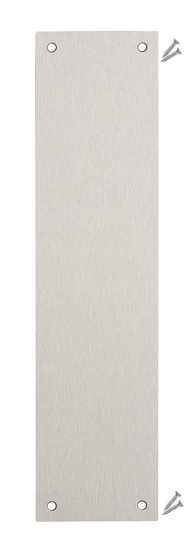 Satinado puerta de acero inoxidable placa de accionado dedo –  350 x 75 mm –  1, 2 mm color grado 430 –  cuadrado esquina –  incluye fijaciones –  I