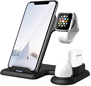 Xoopar Wireless Charging Station for Apple Watch 5/6 and Airpods, 15W Qi Fast Wireless Charger with Night Light, 4 in 1 Charging Stand Holder Compatible with iPhone 11 12 Pro/Mini/XS Max/XR/X/iWatch