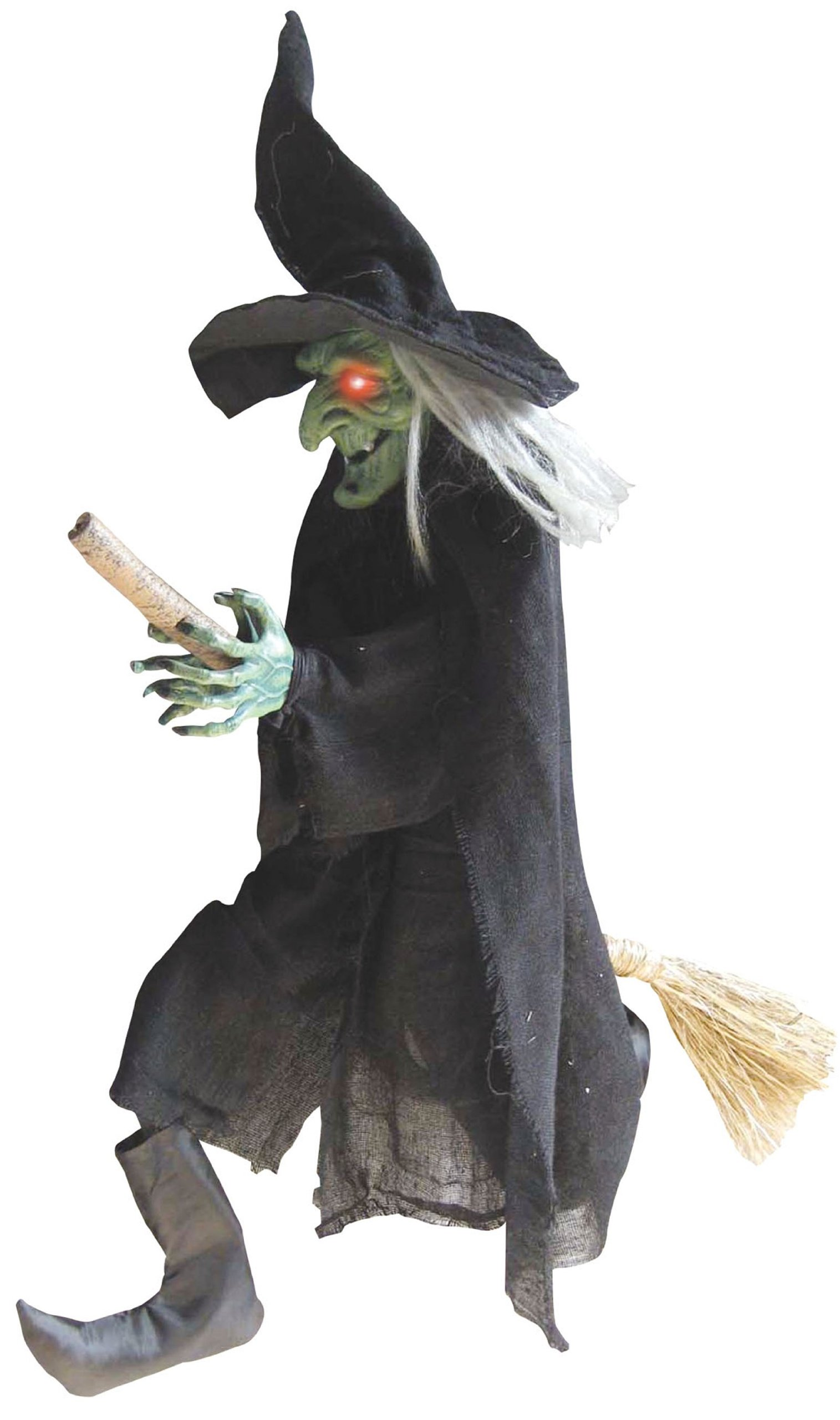 Hanging Green Faced Witch on Broom by Party Destination (Image #1)