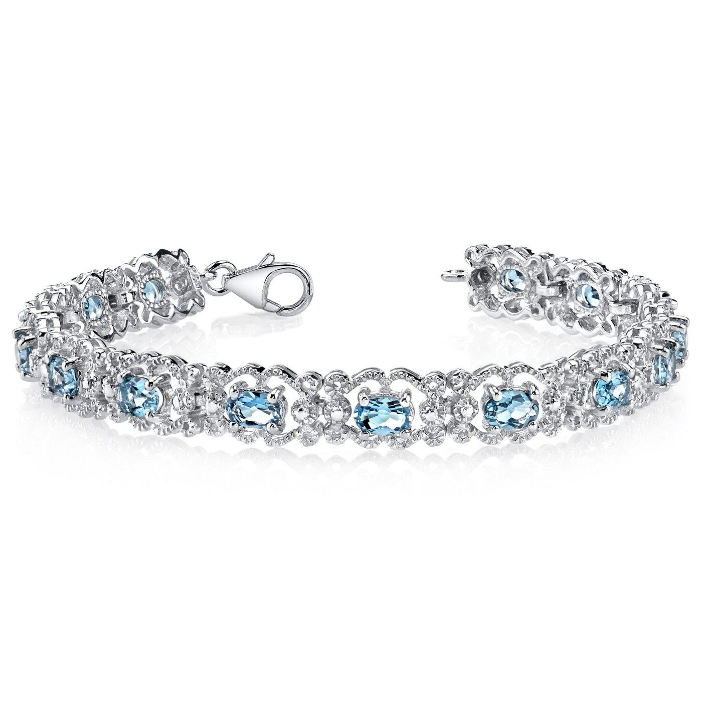 8.50 Carats London Blue Topaz Bracelet Sterling Silver Vintage Style by Peora
