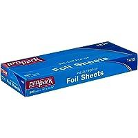 Propack Aluminum Siver Foil Precut Pop up Sheets (14 x 10.75 (200 Sheets)