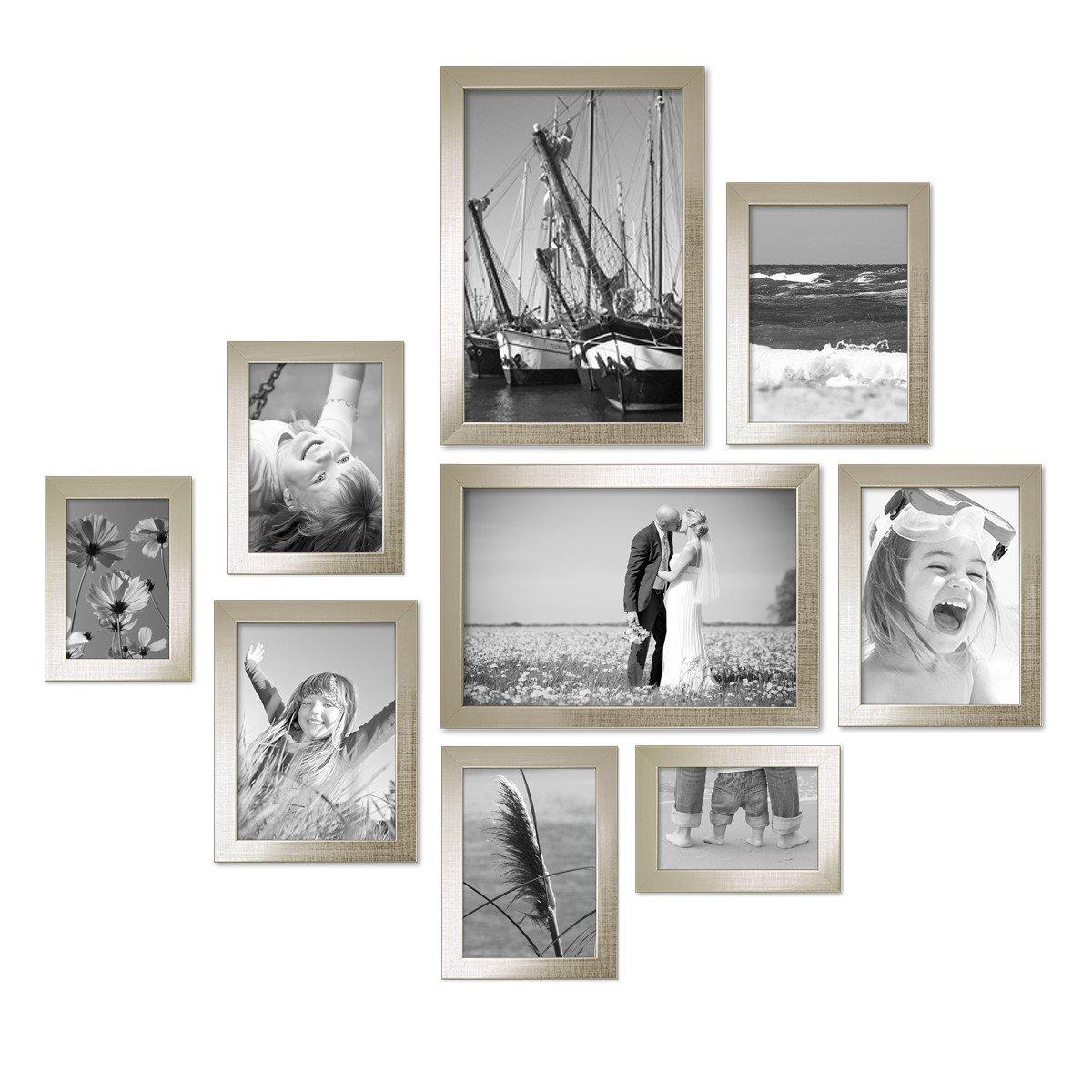 PHOTOLINI 9er Set Bilderrahmen Silber Modern Massivholz-Rahmen mit Glasscheibe und Zubehör   10x15, 13x18, 15x20 und 20x30 cm Fotorahmen