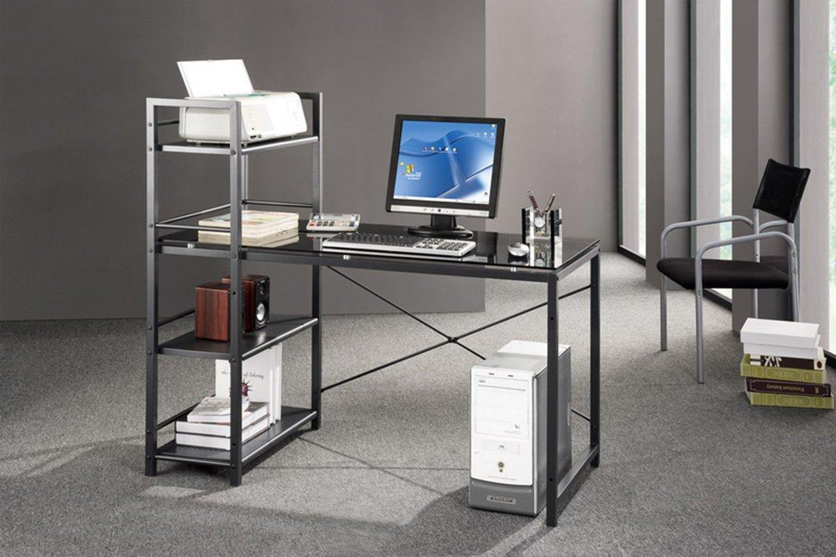 amazoncom techni mobili modern smokey gray tempered glass top computer workstation with shelves grey kitchen u0026 dining