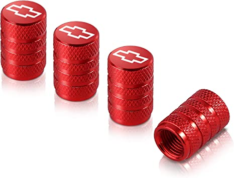 Qideloon Auto Valve Stem Caps,4 Pack Universal Tire Valve Caps with Logo Emblem for Cars Trucks Bike and Bicycle Toyota, Red SUVs Motorcycles Airtight Seal Heavy Duty
