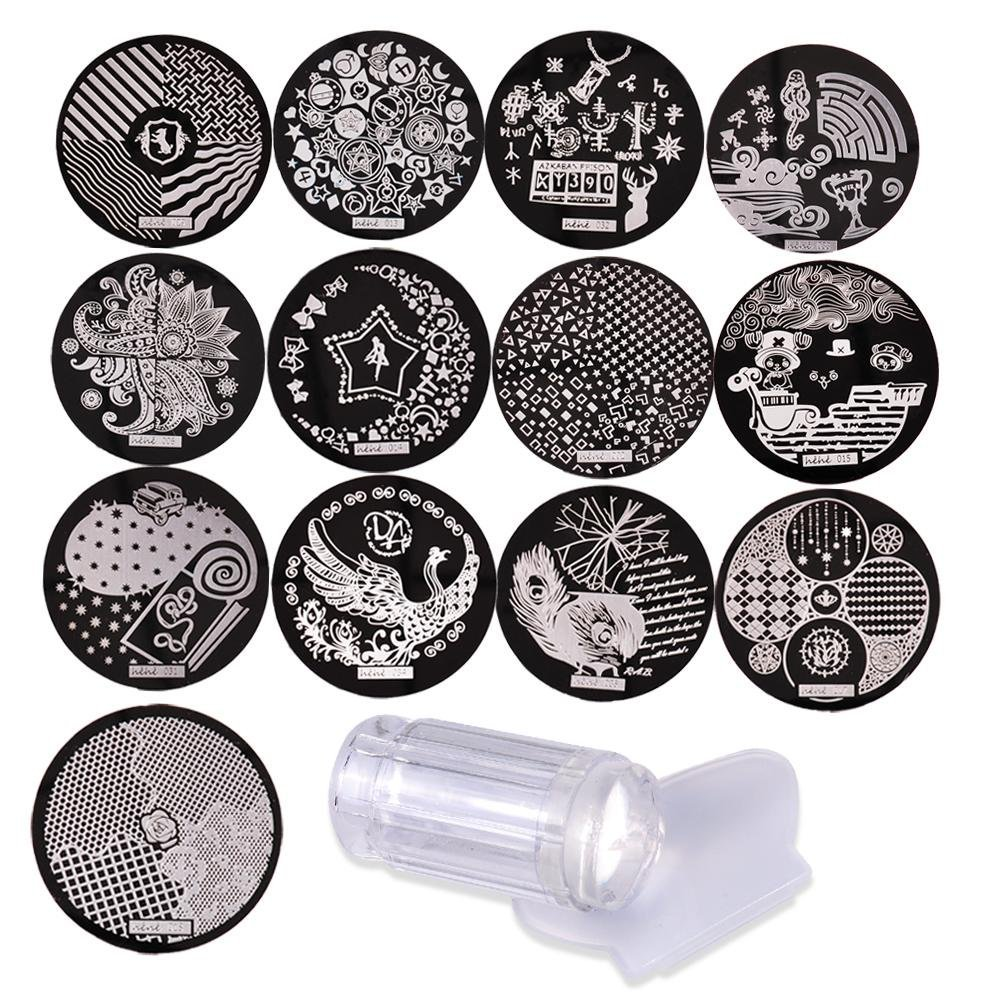 Biutee Nail Art Stamping 13pcs Stainless Steel Image Plates and Clear Jelly Stamper Scraper Set Nail Stamp Template Nail Tools TOOL-AT-713-2