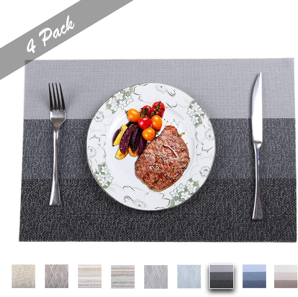 PREMIUM CARE Set of 4 Placemats for Table Heat-Resistant Skid-Proof Table Mats Dining Table Woven Stain Resistant Easy to Clean