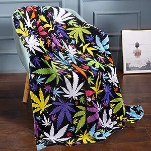 "JML Throw Blanket 50"" x 60"", Plush Fleece Throw Blanket, Soft Lightweight Couch Sofa Bed Decorative Throw Blanket (Printed Leaves, 1 Pack)"