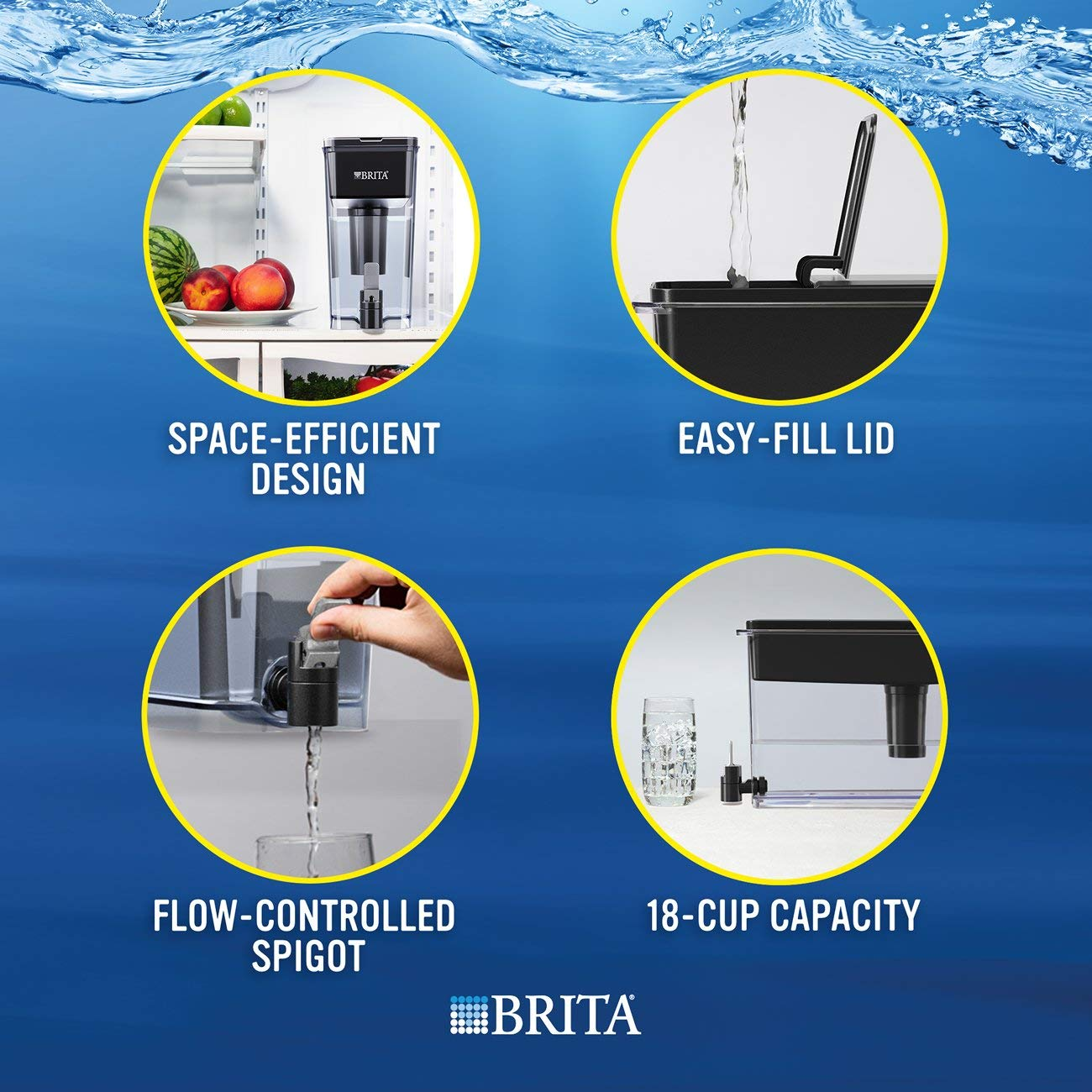 Brita Extra Large 18 Cup UltraMax Water Dispenser and Filter - BPA Free - Black by Brita (Image #4)