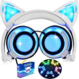 iGeeKid [Upgraded Version]Cat Ear Kids Headphones Rechargeable LED Light Up Foldable Over Ear Headphones Headsets for Girls Boys,Compatible for iPad,Kids Tablet,Kids Wearable Musical Device(New Blue)