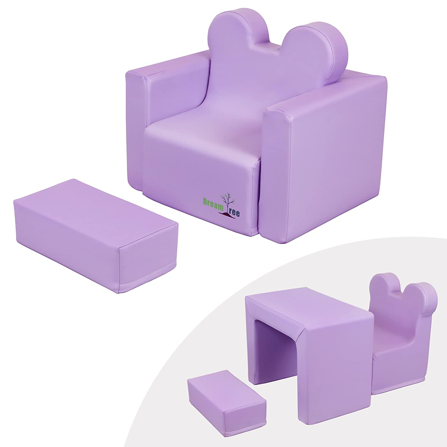 Dream Tree Toddler Table and Chair Set (Sofa Type) Washable, Safe Non-Toxic CPSIA Compliant Soft Foam Furniture for Baby, Kids, and Child - Pink DT-SD-PK